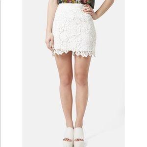 Topshop white crochet skirt